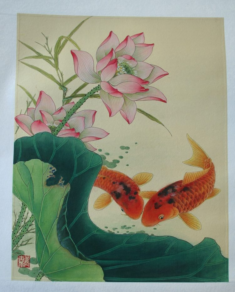 Blooming Lotus With Koi Chinese Hand Painted