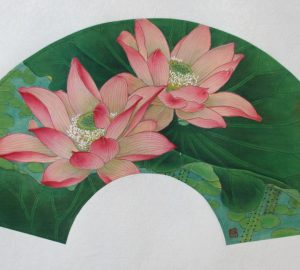 Blooming Lotus Chinese Hand Painted (Fan)