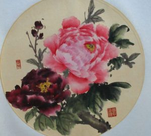 Blooming Red Tree Peony Chinese Hand Painted