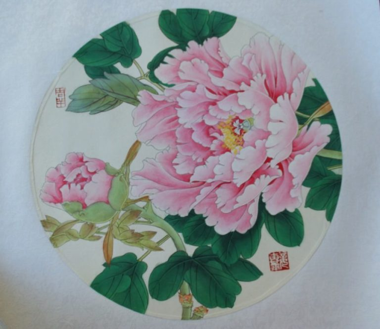 Blooming Red Tree Peony Chinese Hand Painted 1