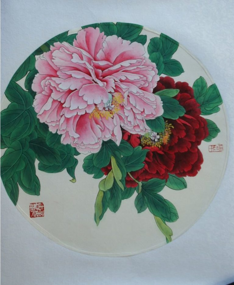 Blooming Red Tree Peony Chinese Hand Painted 2