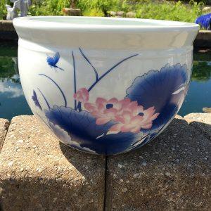 Chinese Bowl lotus Pot- Blue Lotus (H)