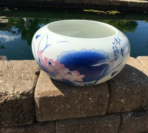 Chinese Bowl lotus Pot- Blue Lotus (S)