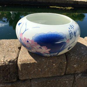 Chinese Bowl lotus Pot- Blue Lotus (S)