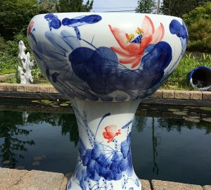 Chinese Bowl lotus Pot- Blue Color with Stand