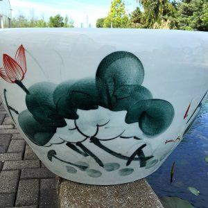 Chinese lotus Pot- Freehand Brushwork Lotus (M-4)