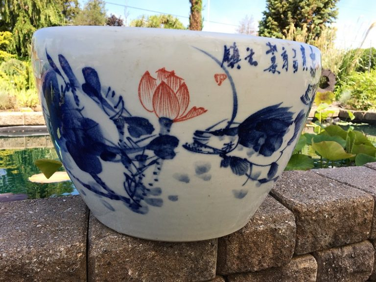 Chinese lotus Pot- Blue with Red Lotus (M-7)