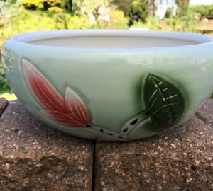 Chinese Bowl Lotus Pot- Green