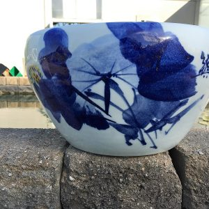 Chinese Bowl lotus Pot- Blue Lotus (L)