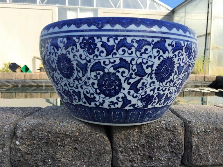 Chinese Bowl lotus Pot- Green Lotus (L)