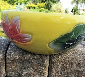 Chinese Bowl lotus Pot- Yellow