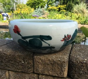 Chinese Bowl lotus Pot- Green Lotus
