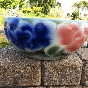 Chinese Bowl lotus Pot- Blue with Red Lotus