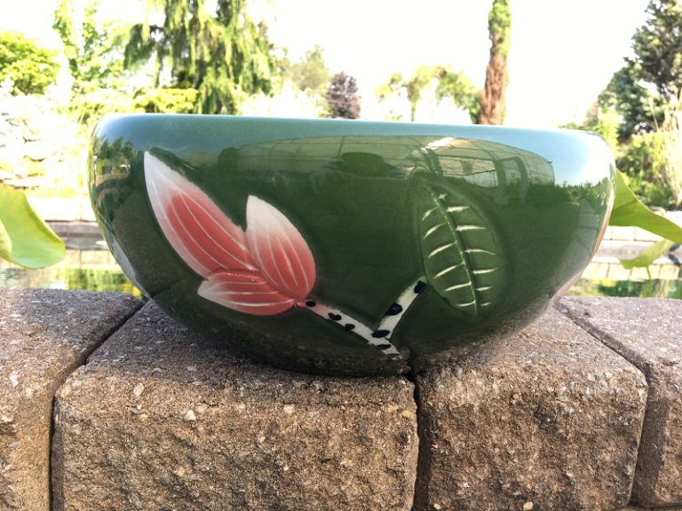 Chinese Bowl lotus Pot- Deep Green
