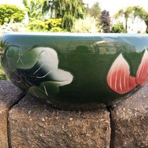Chinese Bowl lotus Pot- Deep Green