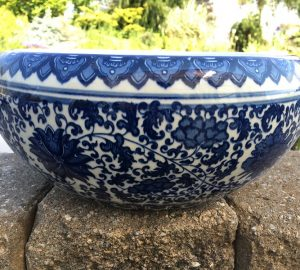 Chinese Bowl lotus Pot- Chinese Blue