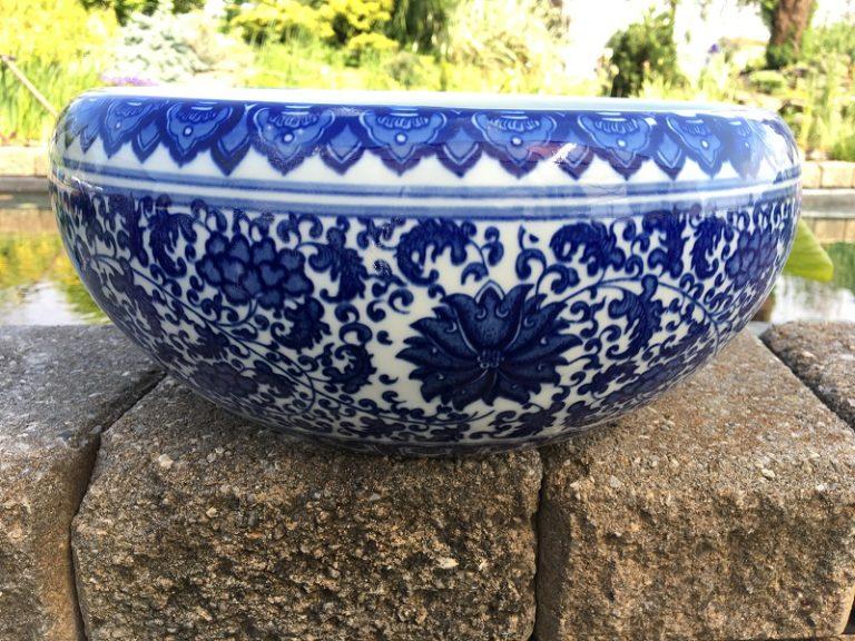 Chinese Bowl lotus Pot- Chinese Blue