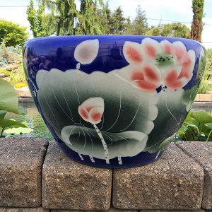 Chinese lotus Pot- Blue Lotus (M-10)