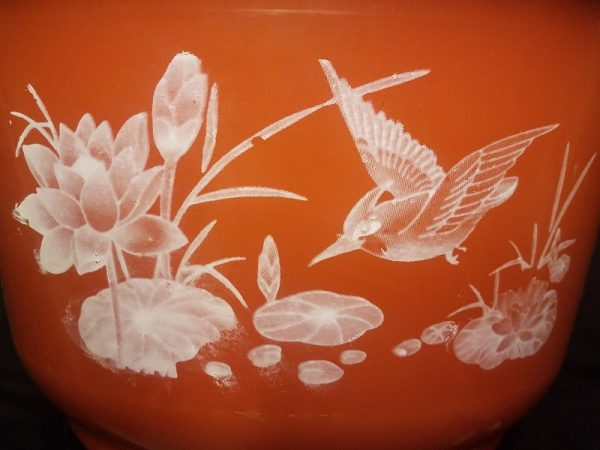 Plastic bowl lotus pot with decal