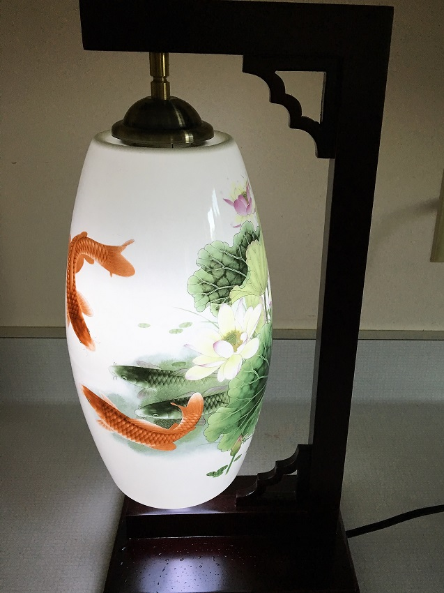 Porcelain Lamp Lotus With Red Chinese Carp Bergen Water Gardens