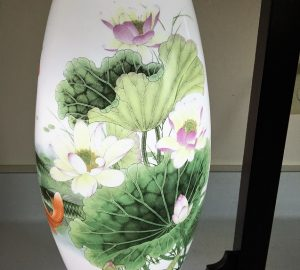 Lotus with Red Chinese Carp Koi