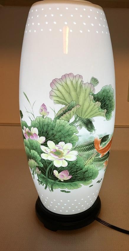 Porcelain lamp koi and lotus bergen water gardens lotus for Chinese koi fish for sale